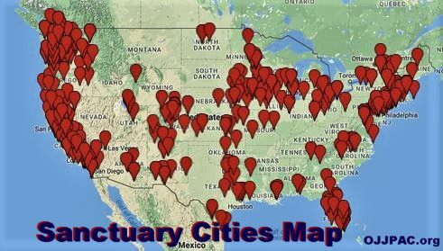 sanctuary cities map, sanctuary map,sanctuary cities, list of ... on